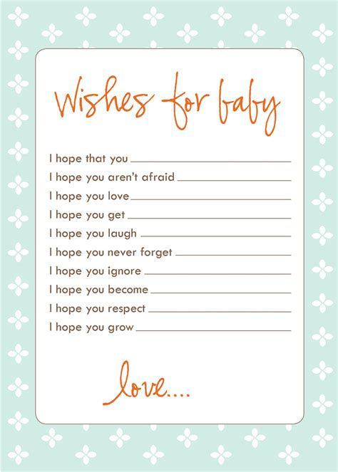 baby shower wish cards template free baby shower printouts activity shelter