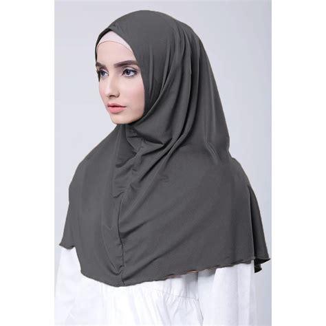 Jilbab Khimar Bahan Kaos instan najwa jilbab kerudung khimar kaos katun tc premium abu elevenia