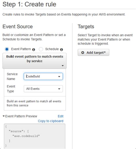 make pattern rule multiple prerequisites build notifications sle for aws codebuild aws codebuild