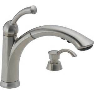 delta kitchen faucets shop delta lewiston stainless 1 handle pull out deck mount