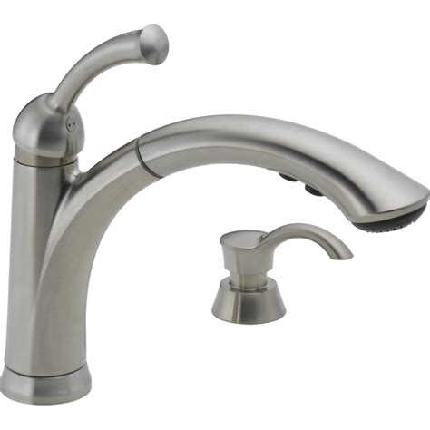 kitchen sinks faucets shop delta lewiston stainless 1 handle pull out deck mount kitchen faucet at lowes com