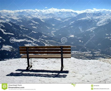bench overlooking mountain valley stock photo image