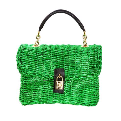 Dolce Gabbana Metallic Woven Hobo by Dolce And Gabbana Metallic Green Woven Raffia Basket Bag