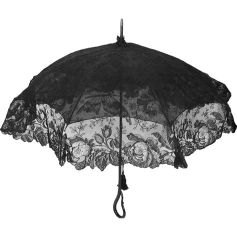 antique victorian mourning parasol  black chantilly