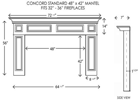 Fireplace Hearth Size by Wood Fireplace Mantels Concord Standard