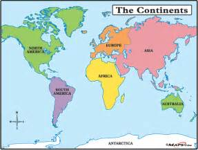 World Continents Map by Continents Land And Water In Our World