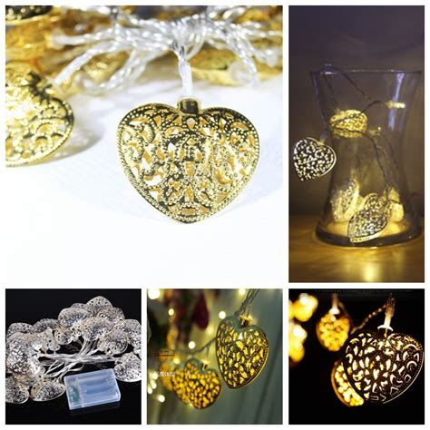 2 Meters Gold Heart Shaped Pendant Led String Light For Decorative Indoor String Lights