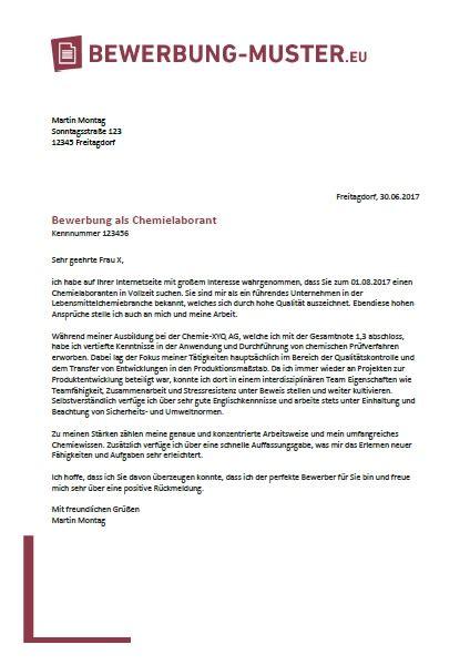 Bewerbung Ferienjob Muster Industrie Kostenlose Bewerbungsvorlage Chemielaborant In