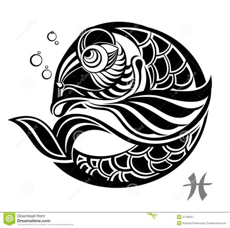 zodiac signs pisces tattoo design stock vector