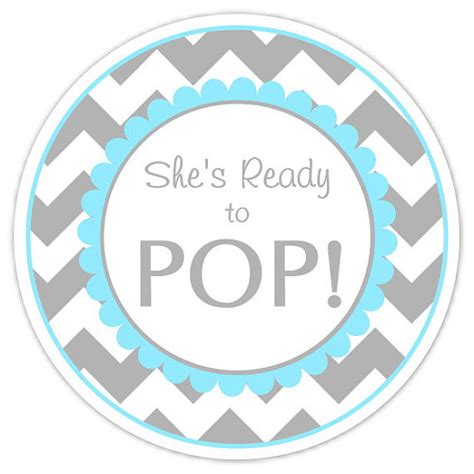 baby shower ready to pop labels gray and blue by