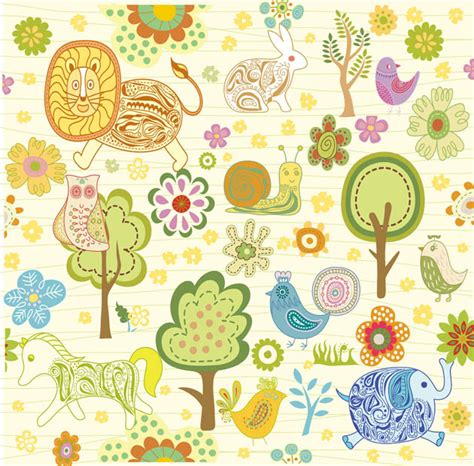 imagenes vectores infantiles dibujos infantiles con animales flores y plantas en
