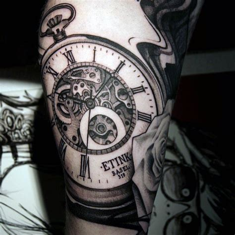 cool grey clock face r0176ffd8e1034ce8a2765cc8aa472c6c top 100 best cool tattoos for guys masculine design ideas