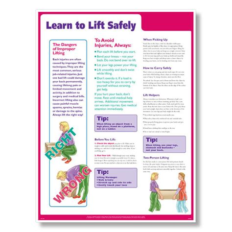 printable safe lifting poster lifting safely at work poster learn to lift safely