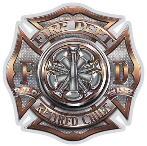 fire dept brotherhood maltese cross retired chief decal