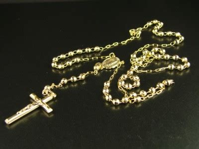gold rosary uk 10k yellow gold rosary cut necklace chain 25 4 ebay