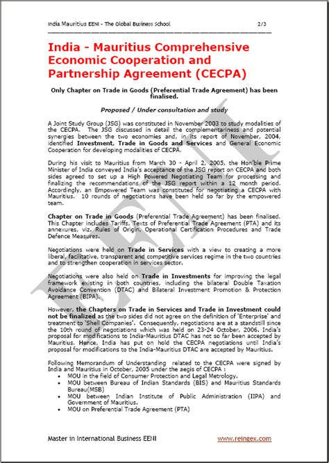 Agreement Letter India India Mauritius Comprehensive Economic Cooperation