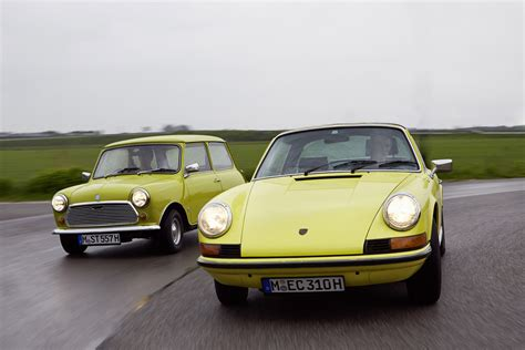 mini cooper porsche classic mini and porsche 911 for 50th anniversary