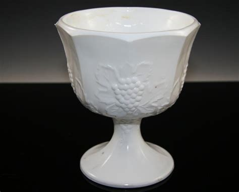 milk glass design milk glass goblet vase with grape design
