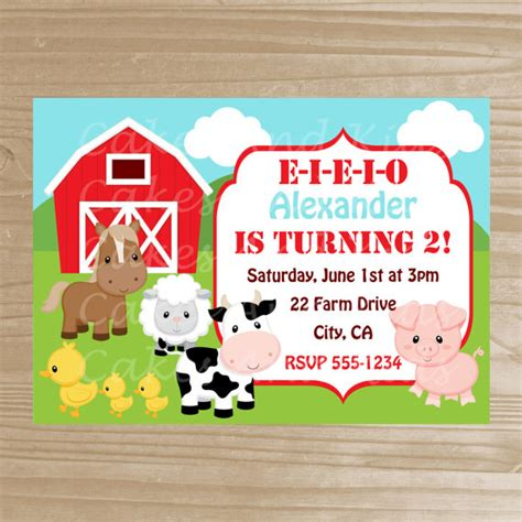 farm themed birthday invitations barnyard invitation farm printable by cakesandkidsdesigns