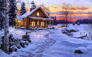 Winter House by Wallpaper Winter House Snow Painting Bliss Darrell Bu