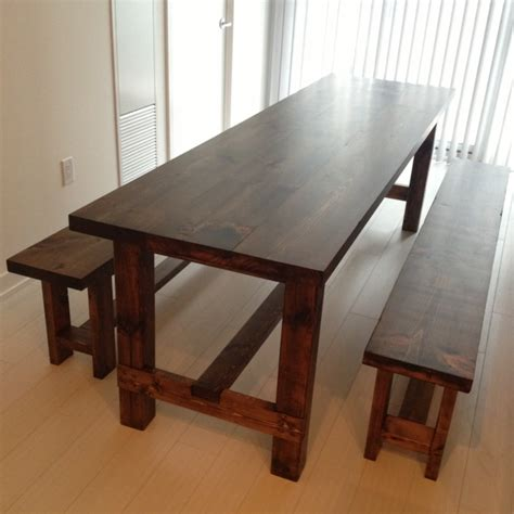 farmhouse table with benches woodworking furniture designs diy workbench dogs