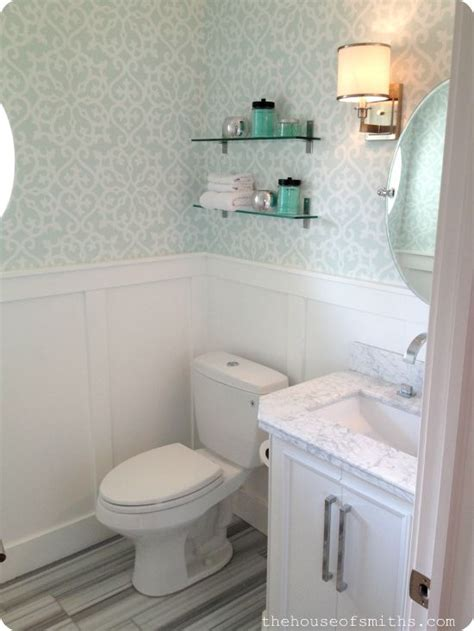 Wallpaper For Small Powder Room Powder Room With Wallpaper And Marble Floors House Of