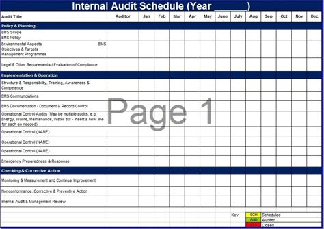 8 free sle audit schedule templates printable sles