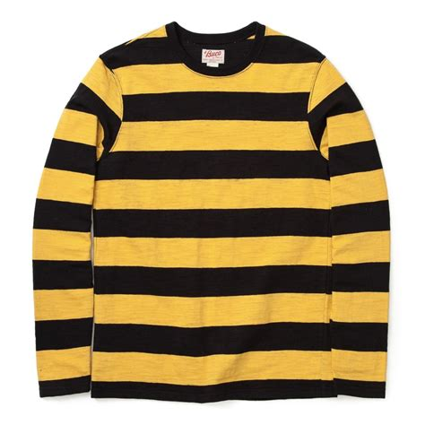 Striped Sleeved T Shirt buco sleeve stripe yellow black