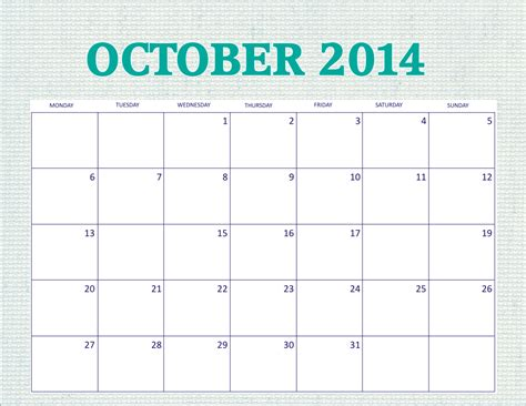 Free 2014 Printable Monthly Calendar