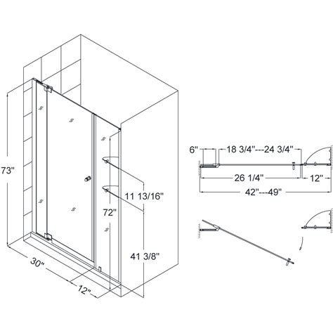 Frameless Shower Door Width Dreamline Shdr 4242728 01 42 To 49 Inch Frameless Pivot Shower Door Shdr 4242728 01