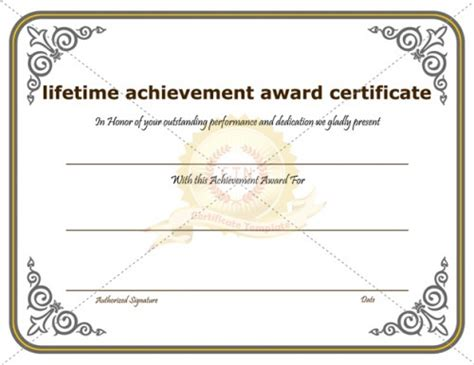 certificate of achievement template awarded for different