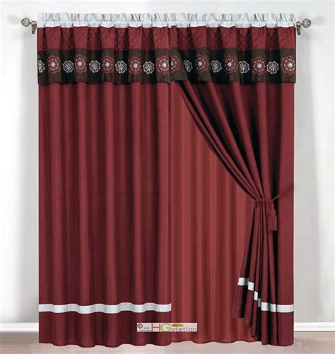 Burgundy Curtains With Valance 4 Pc Quilted Floral Embroidery Curtain Set Burgundy Brown Silver Valance Drape Ebay
