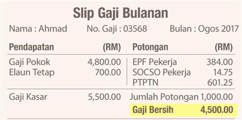 slip gaji pegawai kerajaan syarat pengiraan potongan gaji 60 dalam slip gaji untuk