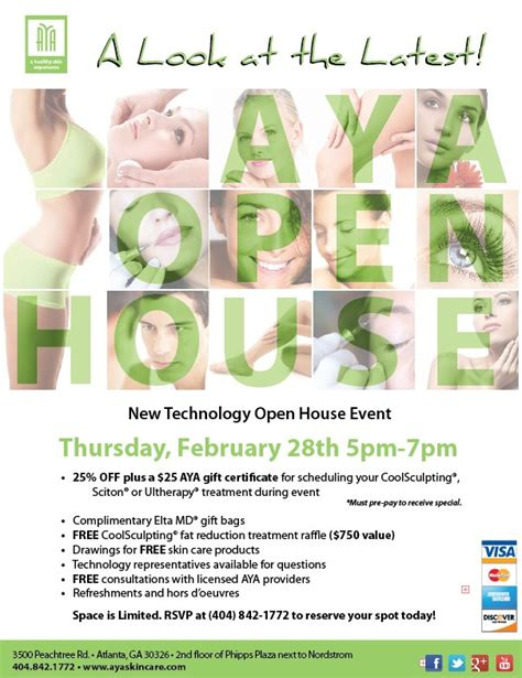 themes for open house events it s not too late to rsvp to aya medical spa s open house