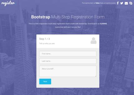 Multi Step Registration Form With Bootstrap Css3 Jquery Azmind Multi Step Form Template