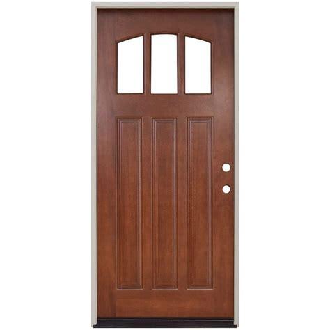 Door Lites Exterior Doors Steves Sons 36 In X 80 In Craftsman 3 Lite Arch Stained Mahogany Wood Prehung Front Door