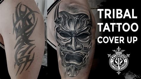 big tribal tattoo cover up tribal cover up japanese oni mask one session