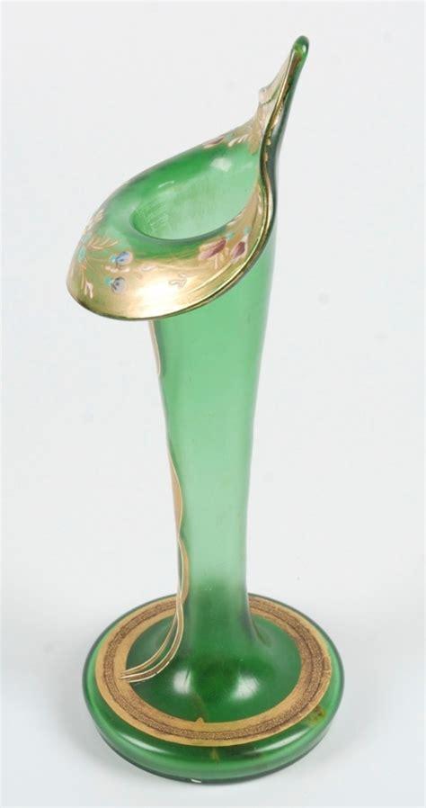 calla vase vintage bohemian blown glass decorated calla form vase ebay
