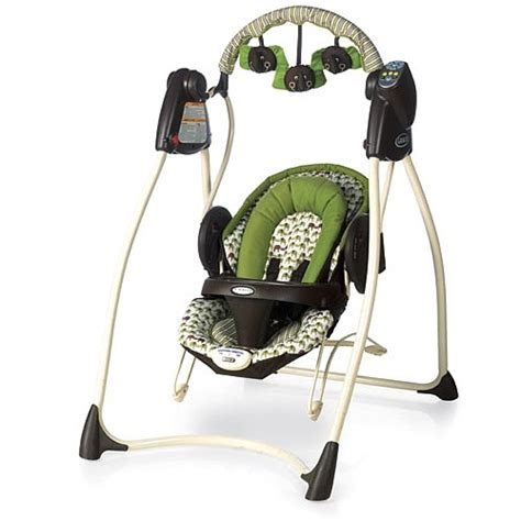 battery baby swing this swing is awesome it takes batteries and plugs into the wall the seat come off becoming a
