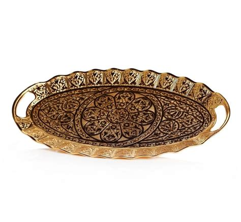 Decorative Serving Trays For Ottomans Ellipse Gold Color Decorative Ottoman Serving Tray Fairturk