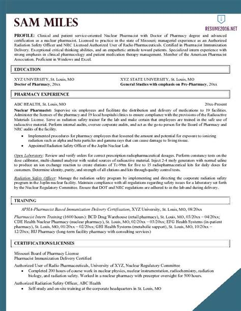 Best Pharmacist Resume by Pharmacist Resume Exle 2016