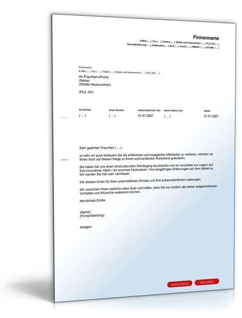 Musterbrief Kündigung Bei Pensionierung gl 252 ckwunsch mitarbeiter ruhestand vorlage zum