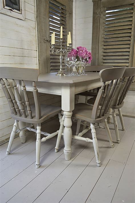 Dine In Style With Our Stunning Grey And White Split White Painted Dining Table And Chairs