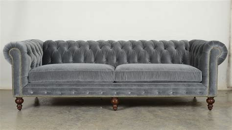 gray velvet chesterfield sofa ship classic chesterfield in cannes grey cloud