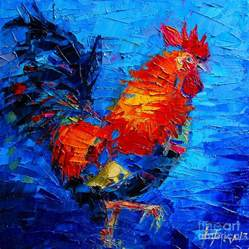 abstract colorful gallic rooster painting by mona edulesco