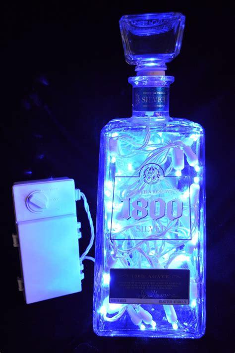 green liquor handling large 1800 silver tequila led blue light bottle diy whisky bottles ideas botellas