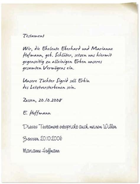 Testament Schreiben Handschriftlich Muster Testament Schreiben