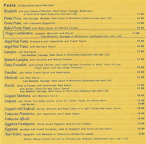 pasta house menu prego pasta house menu menu for prego pasta house northeast dallas dallas