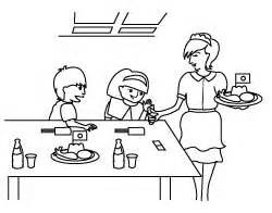 Eating In A Restaurant Colouring Pages sketch template