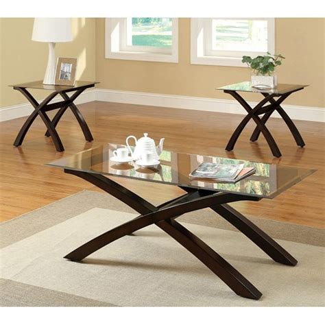 coaster 701610 brown glass coffee table set a sofa